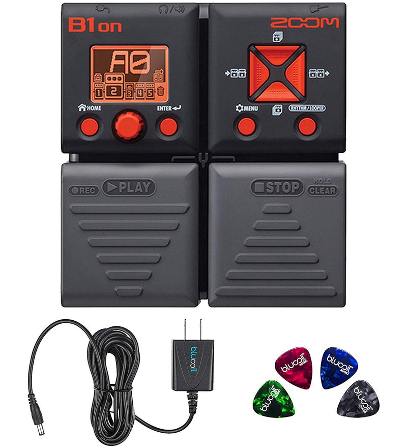 Zoom B1ON Bass FX Pedal with Built-In Tuner Bundle with Blucoil Slim 9V 670ma Power Supply AC Adapter, and 4-Pack of Celluloid Guitar Picks