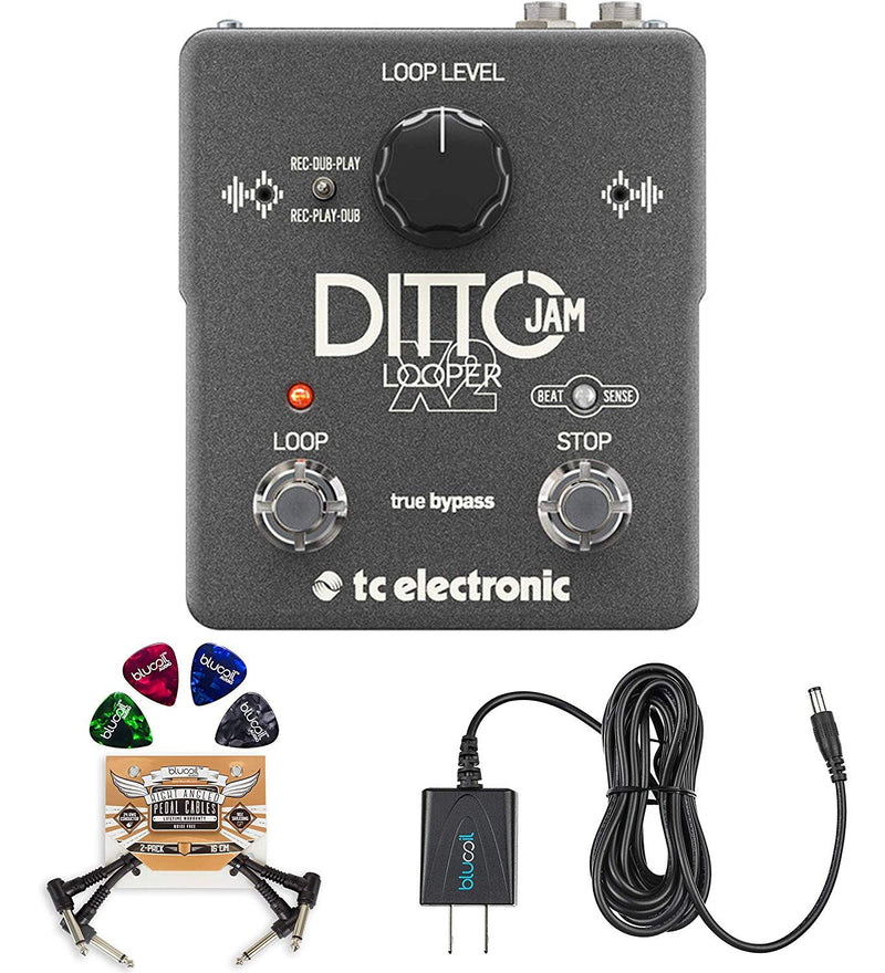 TC Electronic Ditto Jam X2 Looper Pedal Bundle with Hosa 5-FT Straight Instrument Cable (1/4in), Blucoil Slim 9V Power Supply AC Adapter, 2-Pack of Pedal Patch Cables, and 4x Guitar Picks