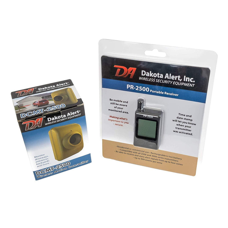 Dakota Alert DCMT-2500 Wireless Transmitter - Passive Infrared Motion Detector Bundle with PR-2500 Portable Receiver and 6-Pack of Blucoil AA Batteries