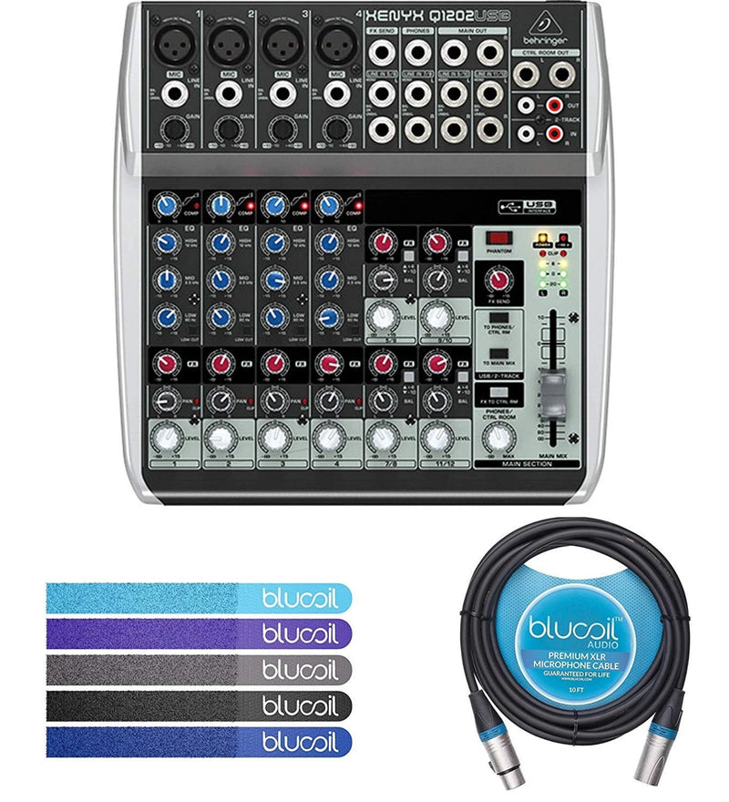 Behringer XENYX Q1202USB 2-Bus Mixer with USB Audio Interface Bundle with Blucoil 10-Ft Balanced XLR Cable and 5-Pack of Reusable Cable Ties