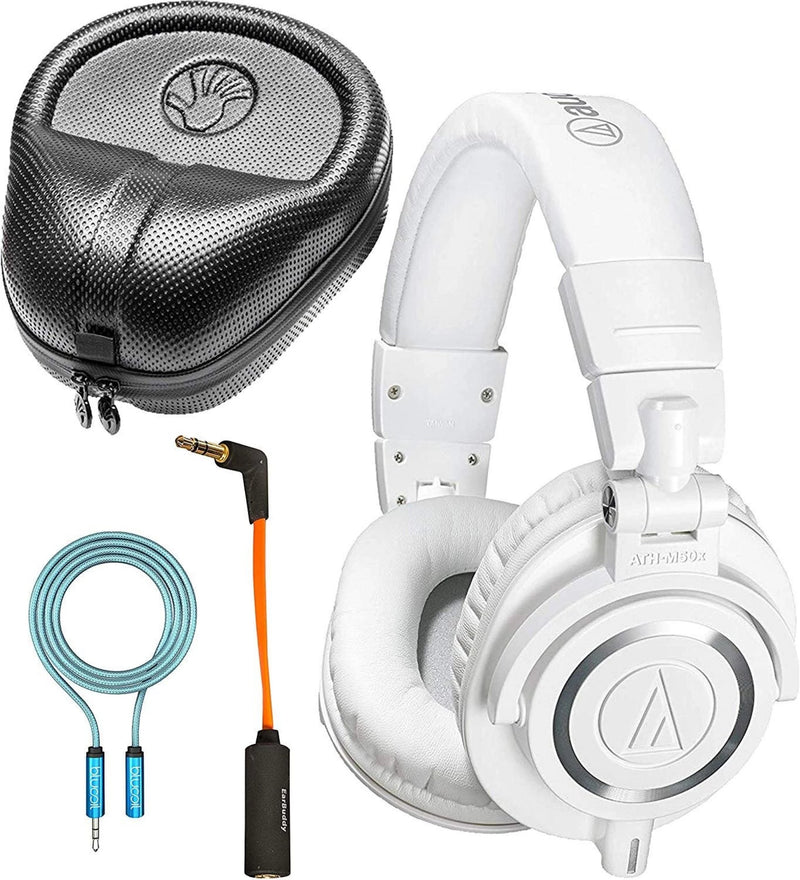 Audio-Technica ATH-M50xWH Dynamic Headphones (White) Bundle with Slappa Headphone Case, iFi Ear Buddy Audio Attenuator 3.5mm, and Blucoil 6' 3.5mm Extension Cable