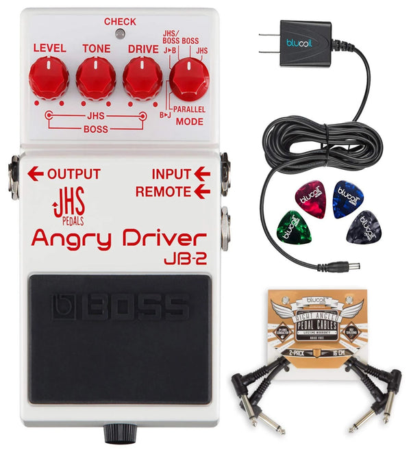 BOSS JB-2 Angry Driver Overdrive Pedal + Blucoil 9V AC Adapter + 2x Patch Cables + 4x Guitar Picks