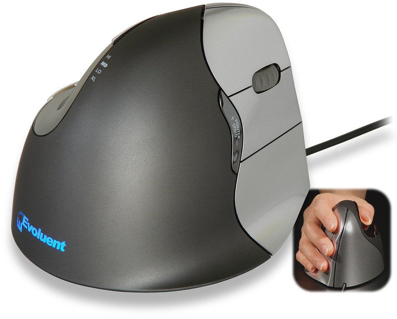 Evoluent VM4R VerticalMouse 4 Right Hand Ergonomic Mouse with USB Connection (Regular Size) Bundled with Blucoil Mousepad with Gel Wrist Pad