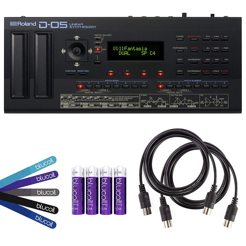 Roland D-05 Linear Synthesizer with Integrated Sequencer, Arpeggiator Bundle with Blucoil 5-Ft MIDI Cables (2 Pack), AA Batteries (4-Pack) and Cable Ties (5-Pack)