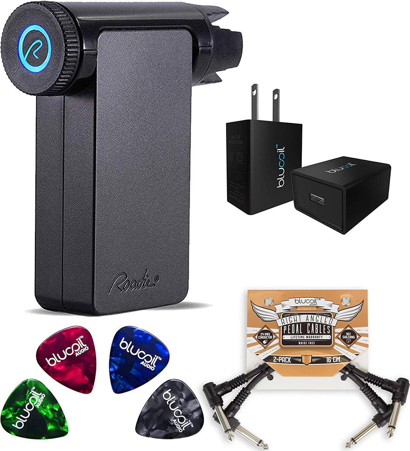 Roadie 2 RD200 Standalone Automatic Guitar Tuner Bundle with Blucoil USB Wall Adapter, 2-Pack of Pedal Patch Cables, and 4-Pack of Celluloid Guitar Picks
