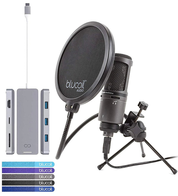 Audio-Technica AT2020USB+ Cardioid Condenser USB Microphone Bundle with Blucoil Silver USB-C Hub with 4K HDMI and 4 USB Ports, Pop Filter, and 5-Pack of Reusable Cable Ties