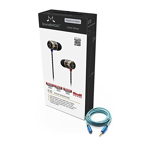 SoundMAGIC E10 Noise Isolating in-Ear Earphones (Black/Gunmetal) Plus Blucoil 6 ft 3.5mm Extender Headphones