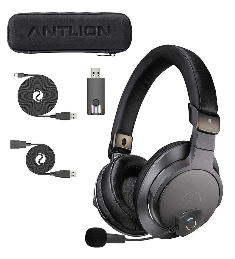 Audio-Technica ATH-SR6BTBK Bluetooth Headphones with NFC Sensor Bundle with Antlion Audio ModMic Wireless Attachable USB Microphone