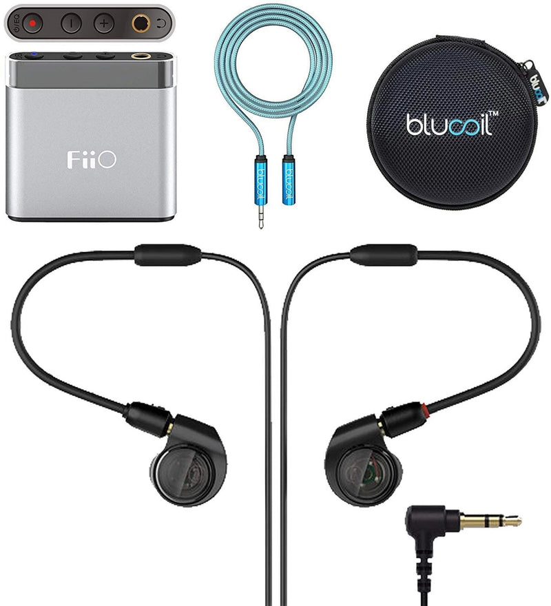 Audio-Technica ATH-E40 IEM Headphones Bundle with FiiO A1 Silver Portable Headphone Amplifier, Blucoil 6-FT Headphone Extension Cable (3.5mm), and Portable Earphone Hard Case