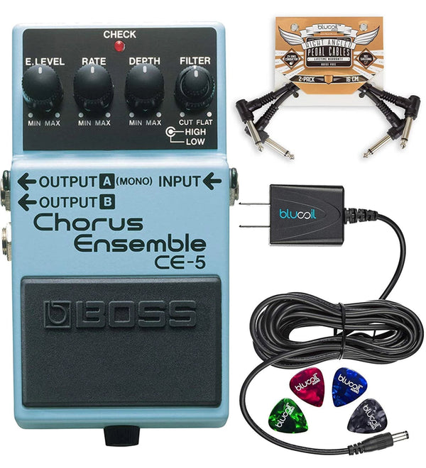 BOSS CE-5 Stereo Chorus Ensemble Pedal + Blucoil 9V AC Adapter + 2x Patch Cables + 4x Guitar Picks