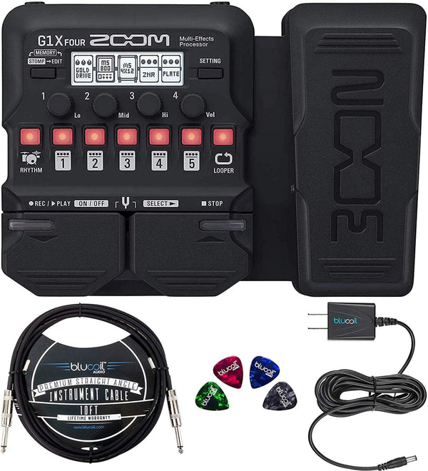 Zoom G1X FOUR Multi-Effects Processor with Expression Pedal Bundle with Guitar Lab Software, 4 AA Batteries, Blucoil Slim 9V 670ma Power Supply AC Adapter, and 4-Pack of Celluloid Guitar Picks