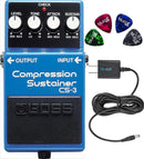 Boss CS-3 Compressor Sustainer Pedal Bundle with Blucoil Power Supply Slim AC/DC Adapter for 9 Volt DC 670mA and 4-Pack of Guitar Picks