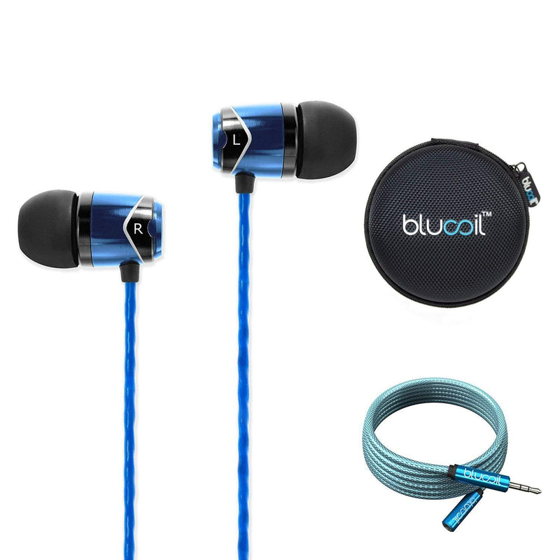 SoundMAGIC E10 in-Ear Earphones with Noise Isolating Earbuds (Blue) Bundle with Blucoil Audio 6ft Extension Cable and Portable Earphone Hard Case