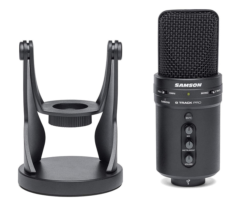 Samson G-Track Pro USB Microphone with Audio Interface Bundle with Samson SR350 Headphones, Blucoil 6' 3.5mm Extension Cable, 10-FT USB Extension Cable, Pop Filter Windscreen, and 5X Cable Ties