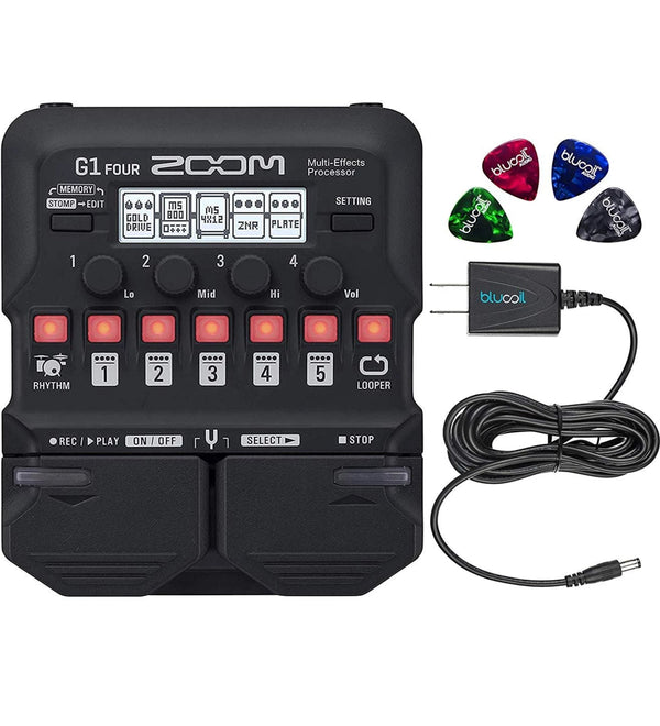 Zoom G1 FOUR Multi-Effects Processor Bundle with Guitar Lab Software, 4 AA Batteries, Blucoil Slim 9V 670ma Power Supply AC Adapter, and 4-Pack of Celluloid Guitar Picks