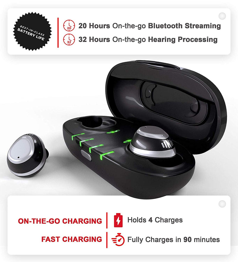 Nuheara IQbuds Bluetooth Earbuds for Assisted Listening + Blucoil USB Car Charger + USB Wall Adapter