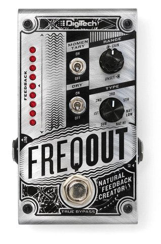 DigiTech FREQOUT Feedback Creator Effects Pedal Bundle with Blucoil Power Supply Slim AC/DC Adapter for 9 Volt DC 670mA, 2-Pack of Pedal Patch Cables and 4-Pack of Celluloid Guitar Picks