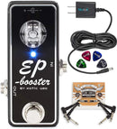 Xotic EP Booster Mini EQ Effects Pedal Bundle with Blucoil Slim 9V 670ma Power Supply AC Adapter, 2-Pack of Pedal Patch Cables, and 4-Pack of Celluloid Guitar Picks