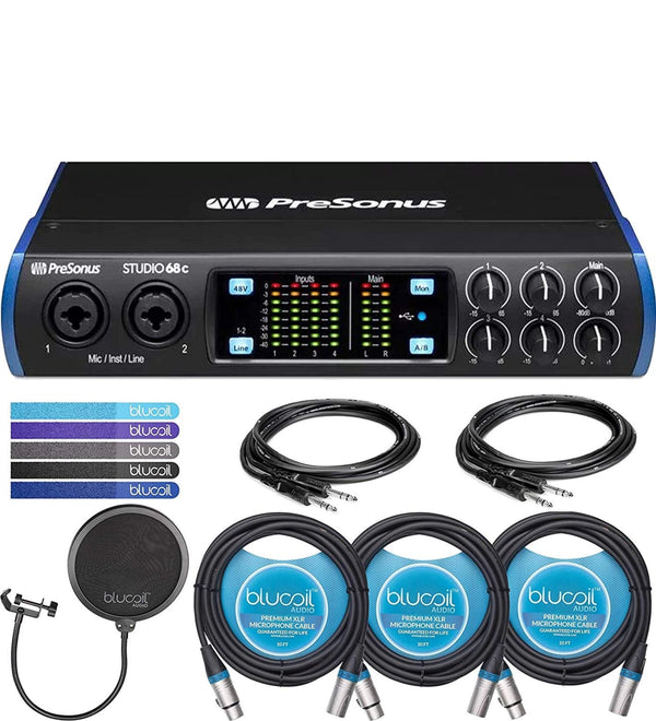 "PreSonus Studio 68c USB-C Audio Interface Bundle with Studio One Artist, Studio Magic Plug-In, 2-Pack of Hosa 5' 1/4"" Male to Male Cables, Blucoil Pop Filter, 3x 10' XLR Cables, and 5x Cable Ties"