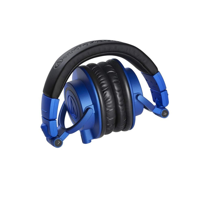 Audio-Technica ATH-M50xBB Headphones with Interchangeable Cables (Limited Edition Blue) Bundle with Slappa Headphone Case, iFi Ear Buddy Audio Attenuator 3.5mm, and Blucoil 6' 3.5mm Extension Cable