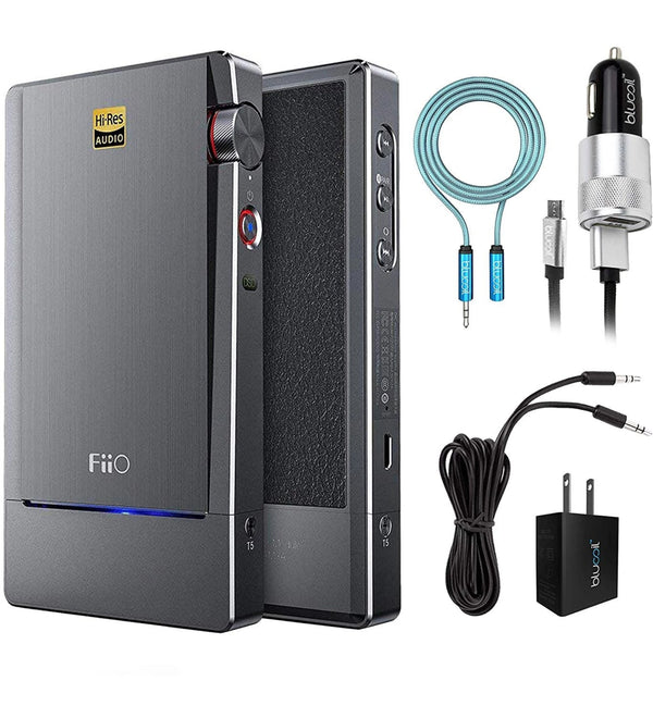 FiiO Q5 Bluetooth and DSD DAC/Amplifier Compatible with iPod, iPhone, iPad Bundle with Blucoil Micro USB Car Charger, USB Wall Adapter, 6-FT Headphone Extension Cable (3.5mm), and 6' Aux Cable