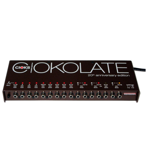 CIOKS CIOKOLATE 9V / 12V / 15V / 16V / 24V AC DC Universal Power Supply with 12 Isolated Sections and 24 Flex Cables for Effect Pedals - Compatible with Temple Audio and Pedaltrain Pedalboards