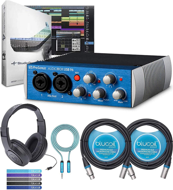 PreSonus AudioBox USB 96 2x2 Audio Interface Bundle with Studio One Artist, Studio Magic Plug-in Suite, Samson SR350 Headphones, Blucoil 2x 10' XLR Cables, 6' 3.5mm Extension Cable, and 5x Cable Ties