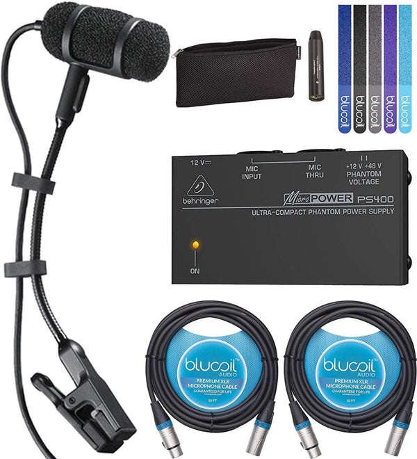 Audio-Technica PRO 35 Clip-on Cardioid Microphone for Musical Instruments Bundle with Behringer MicroPower PS400 Phantom Power Supply, Blucoil 2-Pack of 10-FT Balanced XLR Cables, and 5x Cable Ties