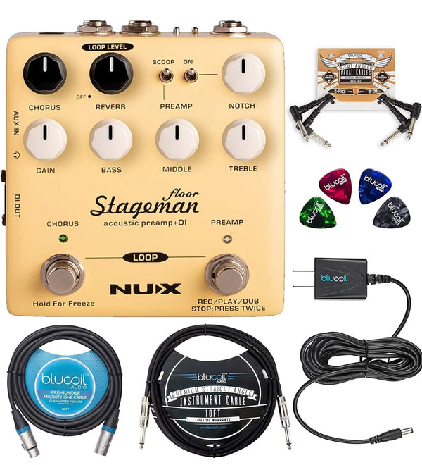 NUX Stageman Floor Acoustic Preamp Effects Pedal Bundle with Blucoil Slim 9V 670ma Power Supply AC Adapter, 10-FT Balanced XLR Cable, 10-FT Mono Instrument Cable, 2x Patch Cables, and 4x Guitar Picks