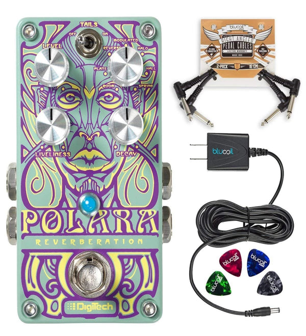 DigiTech Polara Lexicon Reverb Effects Pedal + Blucoil 9V AC Adapter + 2x Patch Cables + 4x Guitar Picks