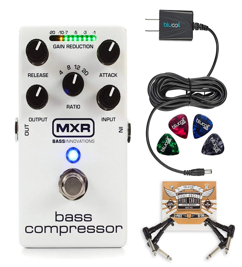 MXR M87 Bass Compressor Effects Pedal with True Bypass Bundle with Blucoil Power Supply Slim AC/DC Adapter for 9 Volt DC 670mA, 2-Pack of Pedal Patch Cables and 4-Pack of Celluloid Guitar Picks