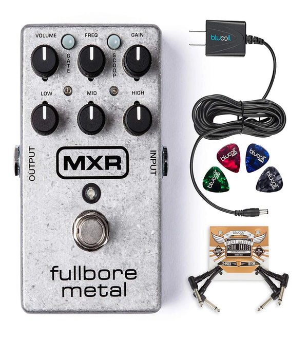 MXR M116 Fullbore Metal Distortion Pedal Bundle with Blucoil Power Supply Slim AC/DC Adapter for 9 Volt DC 670mA, 2 Pack of Pedal Patch Cables and 4-Pack of Celluloid Guitar Picks