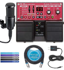 BOSS RC-30 Loop Station Bundle with Audio-Technica AT2020 Cardioid Condenser Microphone, Blucoil Slim 9V 670ma Power Supply AC Adapter, 10-FT Balanced XLR Cable, and 5-Pack of Reusable Cable Ties