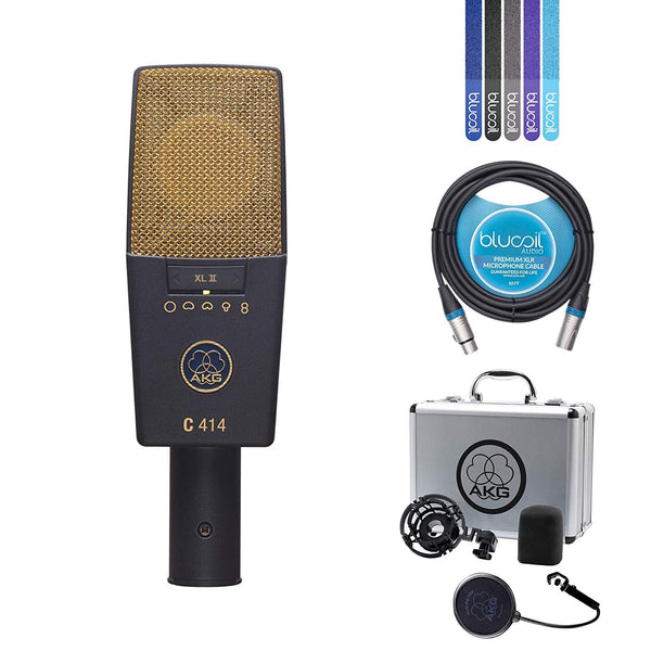 AKG C414 XLII Multi-Pattern Condenser Microphone for Pro Studio Recording Bundle with 2-Pack of Blucoil 10-Ft Balanced XLR Cables and 5 Pack of Cable Ties
