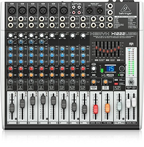 Behringer XENYX X1222USB 2-Bus Mixer with Multi-FX Processor, USB Audio Interface Bundle with Blucoil 10-Ft Balanced XLR Cable and 5-Pack of Reusable Cable Ties