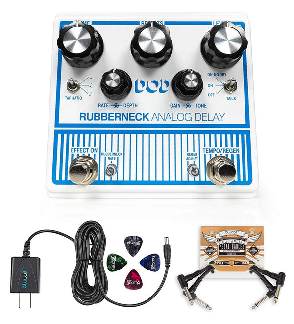 DigiTech DOD Rubberneck Analog Delay Pedal + Blucoil 9V AC Adapter + 2x Pedal Patch Cables + 4x Guitar Picks