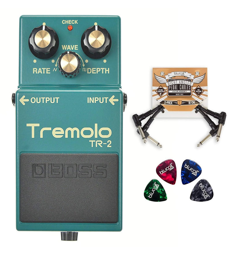 BOSS TR-2 Tremolo Pedal with Wave Control Bundle with 2-Pack of Blucoil Pedal Patch Cables and 4 Guitar Picks