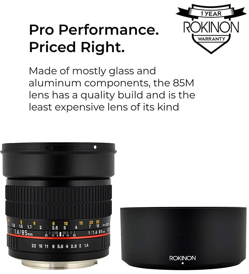 Rokinon 85MAF-N 85mm F1.4 Full Frame Camera Lens for Nikon AE Bundle with Rokinon 72mm UV Filter, and Silicon Power Elite 32GB Class 10 SDHC UHS-1 Memory Card