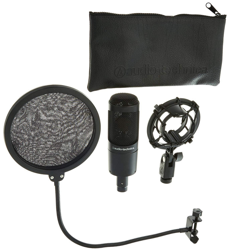 Audio-Technica AT2035 Large Diaphragm Studio Condenser Microphone bundled with Pop Filter