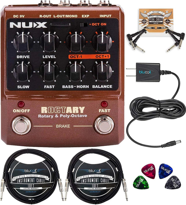 NUX Roctary Force Rotary Speaker Multieffect Pedal Bundle with Blucoil Slim 9V 670ma Power Supply AC Adapter, 2-Pack of 10-FT Mono Instrument Cables, 2-Pack of Pedal Patch Cables, and 4x Guitar Picks
