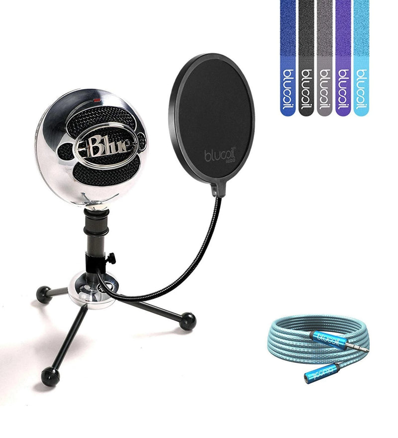 Blue Microphones Snowball USB Condenser Microphone + Blucoil Pop Filter + 6' 3.5mm Extension Cable + 5x Cable Ties