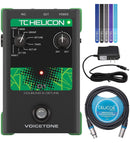 TC Helicon VoiceTone D1 Vocal Effects Pedal Bundle with 12V 400mA DC Power Supply, Blucoil 10-FT Balanced XLR Cable, and 5-Pack of Reusable Cable Ties