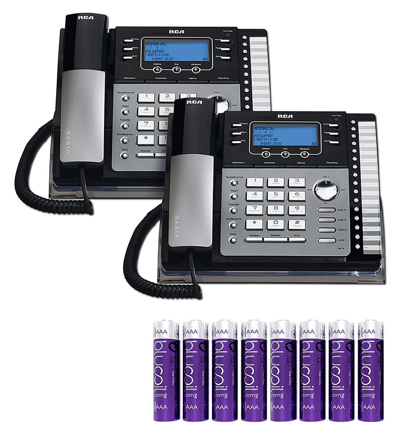 RCA 25424RE1 4-Line Expandable Phone System - Office Desk Telephone with Built-in Caller ID and Intercom (2-Pack) Bundle with 8 Blucoil AA Batteries