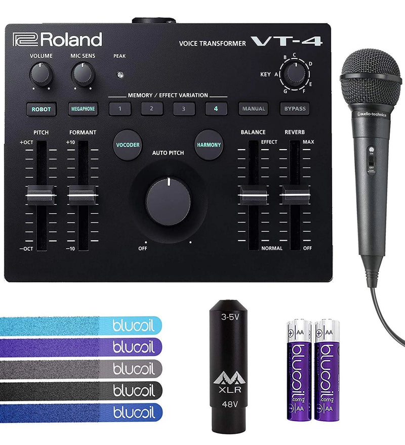 Roland VT-4 Voice Transformer Vocal Effects Processor Bundle with Audio-Technica ATR1100 Unidirectional Dynamic Microphone, Antlion Audio XLR to 3.5mm Adapter, Blucoil 5x Cable Ties, and AA Batteries