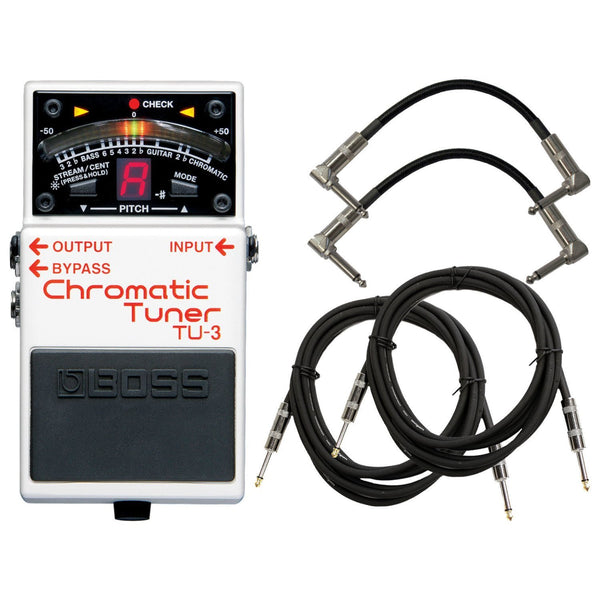 Boss TU-3 Tuner Pedal w/4 FREE Cables