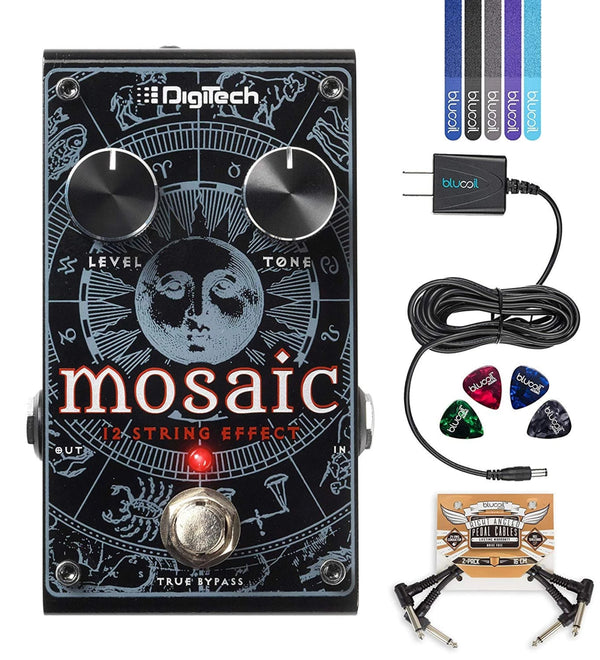 DigiTech Mosaic Polyphonic 12-String Effect Pedal + Blucoil 9V AC Adapter + 2x Patch Cables + 4x Guitar Picks + 5x Cable Ties