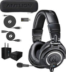 Audio-Technica ATH-M50xBT Bluetooth Headset Bundle with Antlion Audio GDL-0700 ModMic Wireless Attachable Boom Microphone, and Blucoil USB Wall Adapter