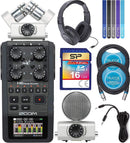 Zoom H6 Handy Recorder Bundle with Samson SR350 Over-Ear Closed-Back Headphones, Silicon Power 16GB Class 10 SDHC SD Card, 2x Blucoil 10-FT Balanced XLR Cables, 6' Aux Cable, and 5x Cable Ties