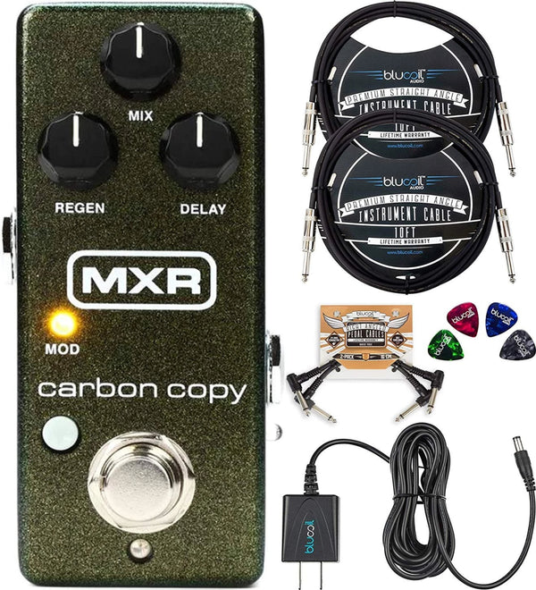 MXR M299 Carbon Copy Mini Analog Delay Pedal with True Bypass Bundle with Blucoil Slim 9V 670ma Power Supply AC Adapter, 2-Pack of 10-FT Mono Instrument Cable, 2x Patch Cables, and 4x Guitar Picks