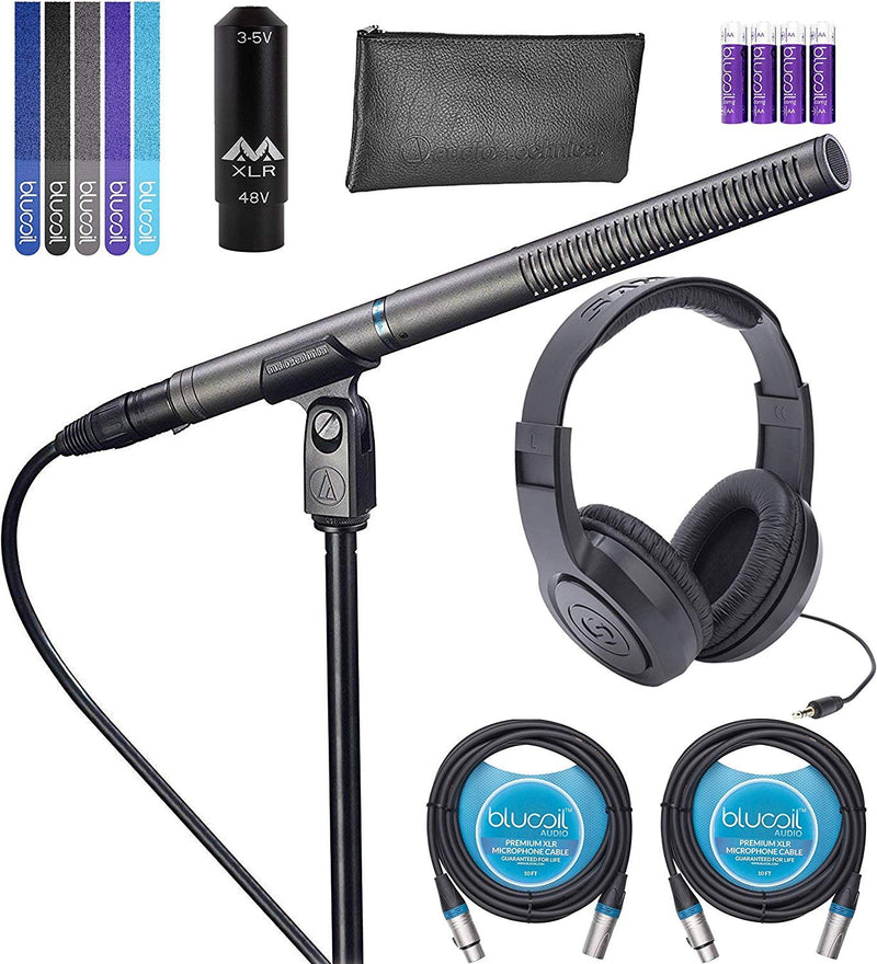Audio-Technica AT897 Line + Gradient Shotgun Microphone Bundle with Antlion Audio XLR to 3.5mm Adapter, Samson SR350 Headphones, Blucoil 2-Pack of 10' XLR Cables, 4 AA Batteries, and 5x Cable Ties